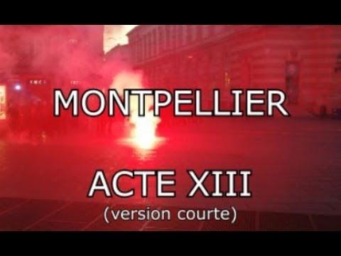 Acte 13 gilet jaune Les forces de l'ordre prennent une pluie de feu d'artifice à Montpellier