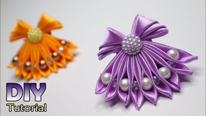 DIY || How to make Kanzashi Little Dress | Cara membuat bros gaun | Bros Unik | Lucu | Satin ribbon