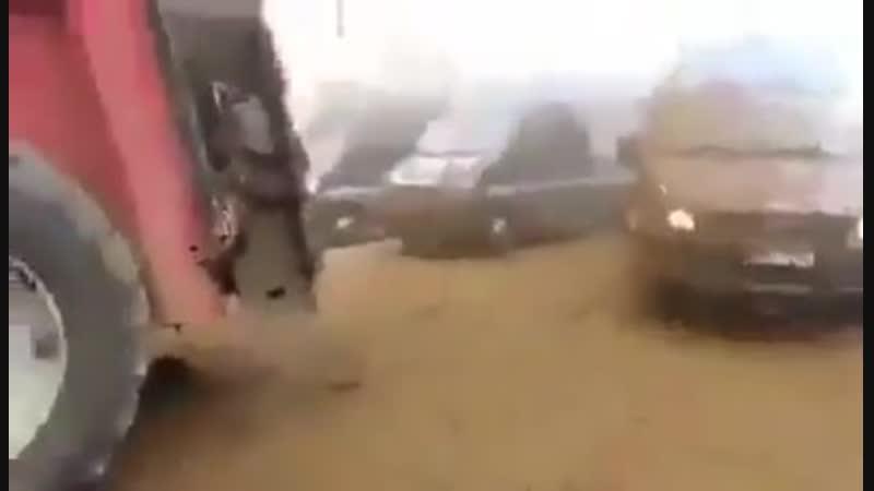 Фермеры демонстранты из числа Желтых жилетов поливают навозом полицейские силы