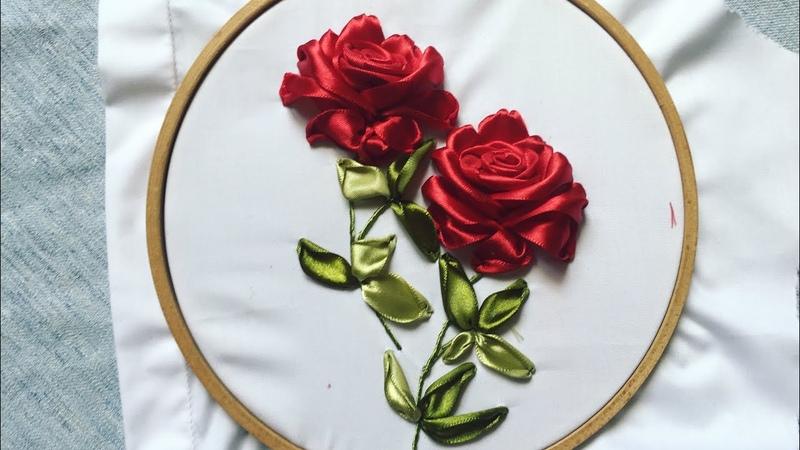 D.I.Y Ribbon Embroidery Roses for your clothes Hướng dẫn thêu ruy băng lên áo