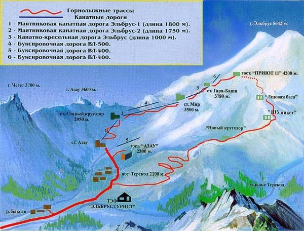Два основных склона - г. Чегет и г. Эльбрус.  Катание на отдельных участках склонов.