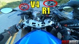 S1000RR Rubs Elbows with Fastest Ducati V4S &amp R1 R1M!