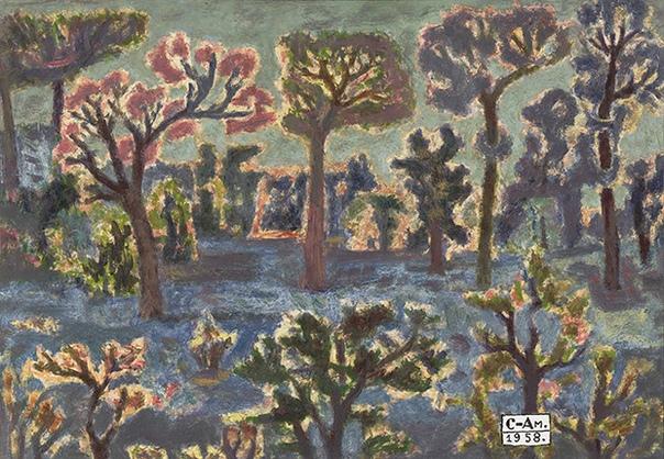 Фёдор Васильевич Семёнов-Амурский (1902 1980) Поляна со столпившимися деревьями. 1958. Масло бумага. Частное