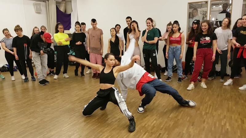 Les Twins Berlin workshop Motions studio april 2019 Laurent dancing with a girl