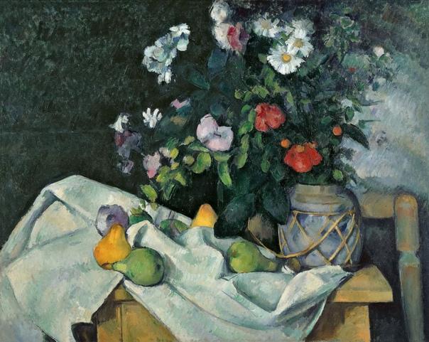 Натюрморт с цветами и фруктами Поль Сезанн 1890, 62×65 см