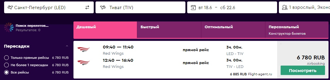 Red Wings: чартер из Санкт-Петербурга в Черногорию за 6800 рублей туда - обратно с багажом