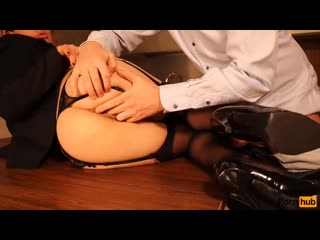 Sexy secretary fucked on the table. blowjob and sex in stockings glasses