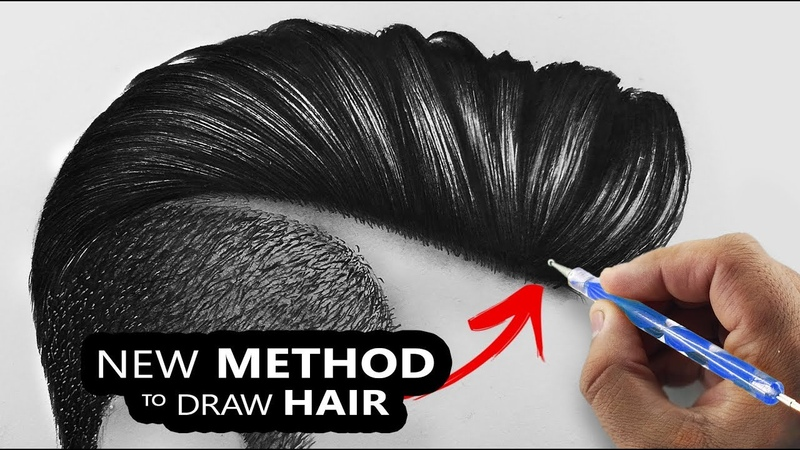 How I draw Hairs So Easily | NEW Technique 2019