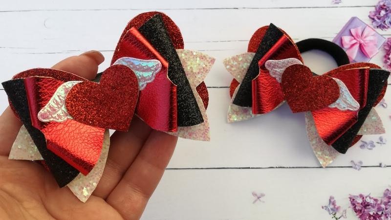 Бантики из еко-кожи ко дню Святого Валентина ,мк/Eco-leather bows for Valentine's Day