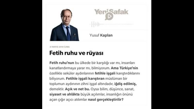 Yusuf Kaplan - Fetih ruhu ve rüyası - 31.05.2019