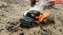 The car is on fire. Scale car crash.Experiment toys videos.