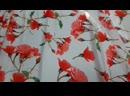 Арт.ISHP38-003 Шёлк АРМАНИ принт. Красные розы . Цвет Белый .