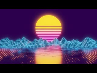Neon sunset cubic water