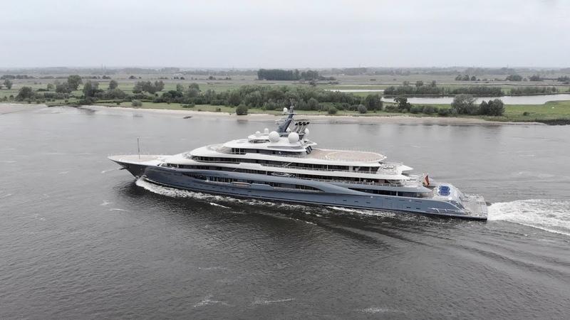 4K | Yacht FLYING FOX - Project SHU back from Seatrail - Lürssen shipyard