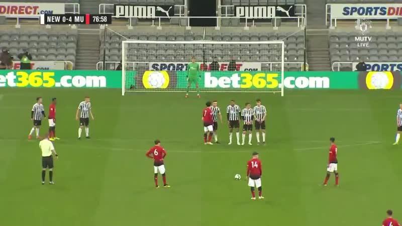Mason Greenwood's free kick for Manchester United U23s against Newcastle U23s