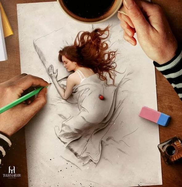 Туллиус Хейер он сочетает рисунок карандашом с компьютерной графикой. Туллиус Хейер (Tullius Heuer) молодой художник, который предпочитает создавать свои картины объемными, такими, словно