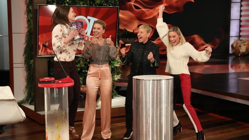 Brie Larson Scarlett Johansson Cheer on an 'Avengers' Fan During 'Hot Hands'