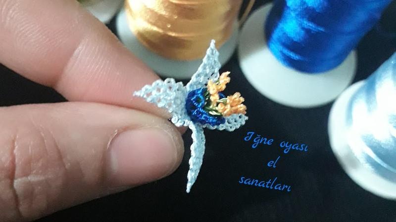 Minyatür küpeli çiçeği anlatımlı yapılışı (yazma, namaz örtüsü, takı havlu) needlelace flower