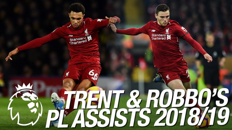 All of Trent Alexander Arnold and Andy Robertson's 23 Premier League assists in 2018 19
