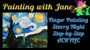 30 Days of Art 9 - Finger Painting Starry Night Step by Step Acrylic Painting for Beginners