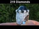 20 44 Carat Blue Star Sapphire Diamond Cocktail Ring w 219 Diamonds