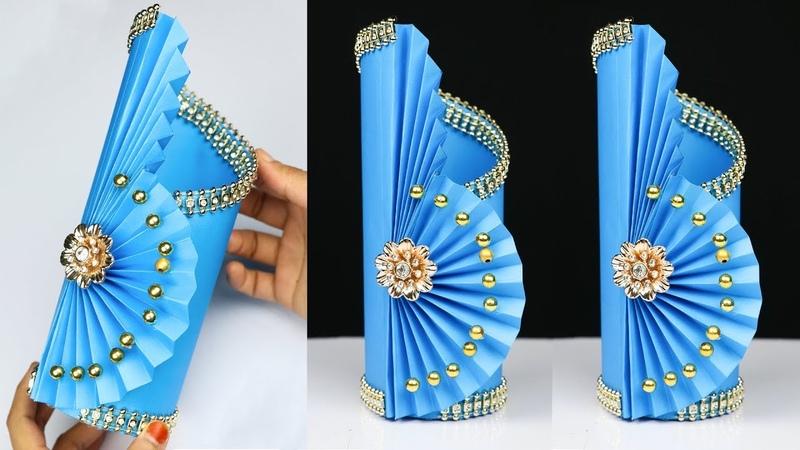 Easy Paper Flower Vase How to Make A Flower Vase At Home home decor ideas
