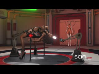 Sci-fi sex machine. young black girl get fucked by hot 3d shemale