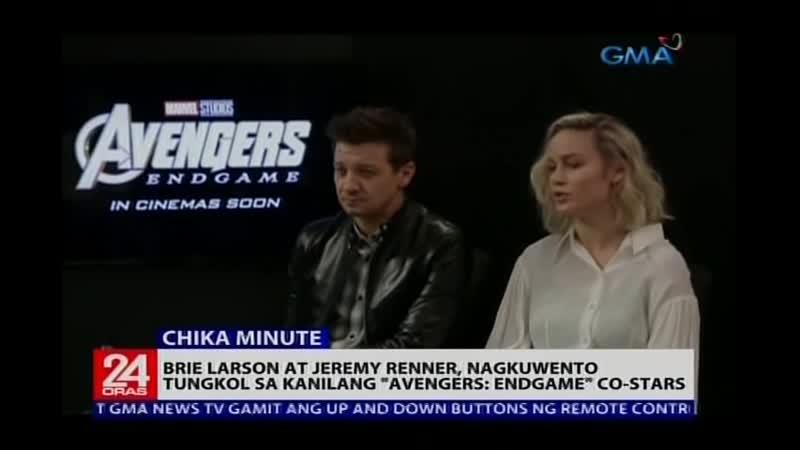24 Oras- Brie Larson at Jeremy Renner, nagkuwento tungkol sa kanilang Avengers- Endgame co-stars - YouTube