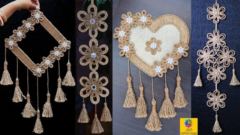 4 Best Creative Jute Wall Hangings Room Decoration Ideas   Best out of waste Jute Craft Designs