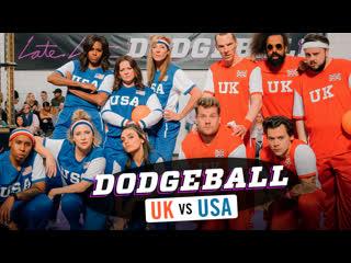 Team usa v. team uk - dodgeball w/ michelle obama, harry styles & more [rus sub]