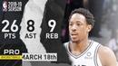DeMar DeRozan Full Highlights Spurs vs Warriors Mar. 18, 2019 NBA Season
