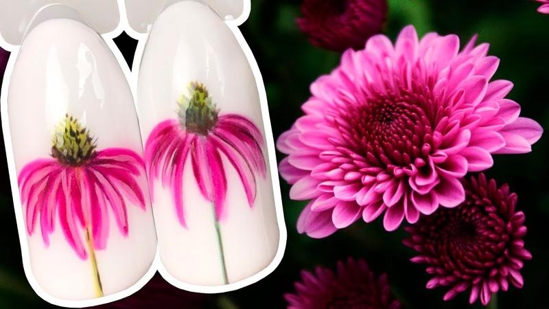 🌸 Цветочный Экспресс Дизайн с Фиолетовыми Хризантемами Рисунок Гель лаком для Маникюра