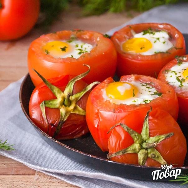 Фаршированные помидоры с брокколи и яйцом