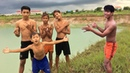 Enjoy Boys For Jumps Into Water Of The Old Pond