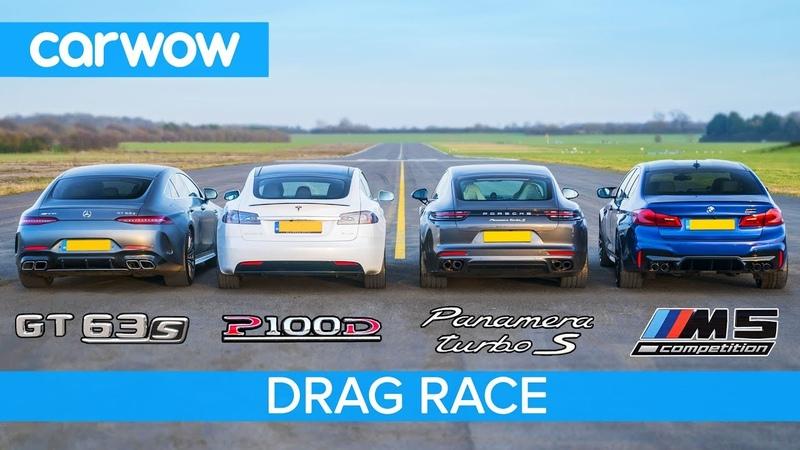 Tesla Model S v AMG GT 4 v BMW M5 v Porsche Panamera Turbo S - DRAG RACE, ROLLING RACE BRAKE TEST