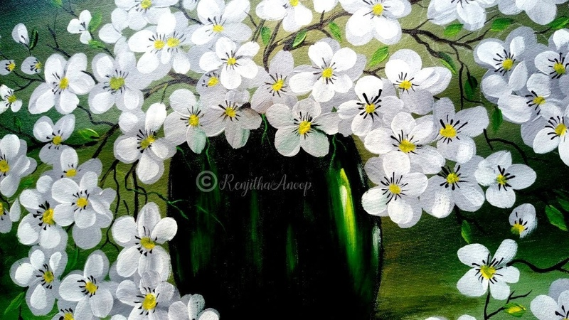 Step by Step acrylic painting on canvas for beginners simple flower vase painting tutorial