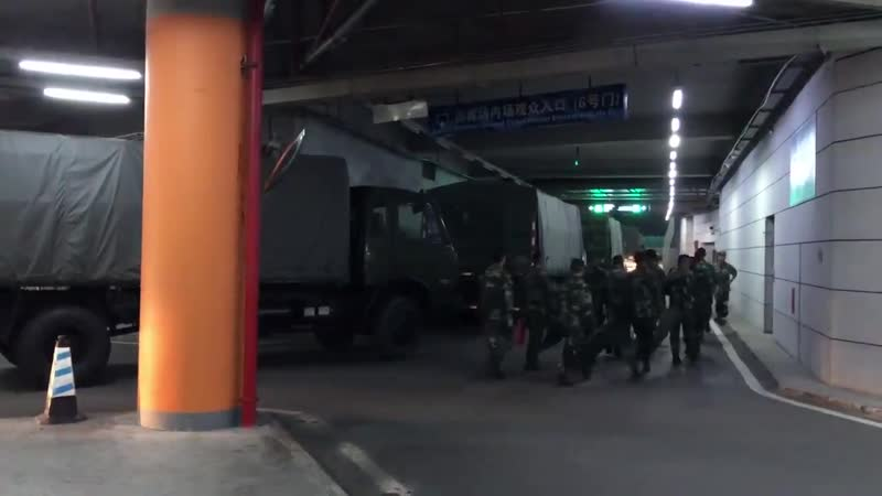 Presence of a large number of Chinese paramilitary troops stationed at a sports complex in Shenzhen