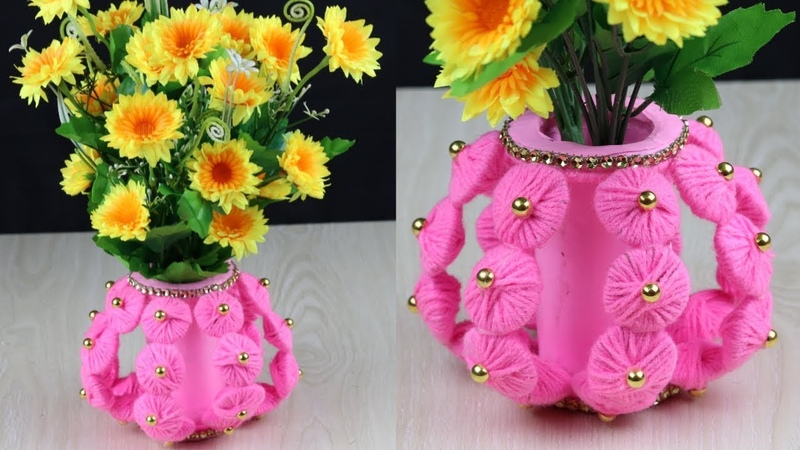 Awesome Flower Vase Making With Woolen/Best Out Of Waste Idea/DIY Innovative Ideas Of Flower Vase
