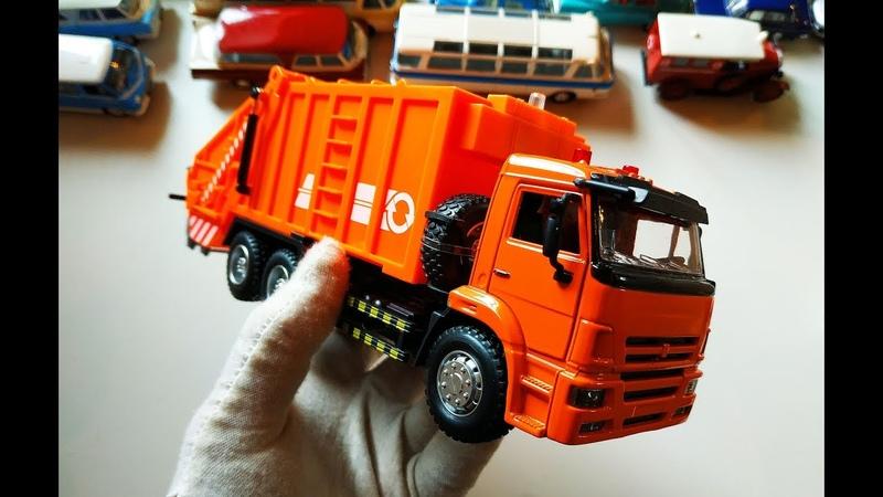 Про МАШИНКИ Моделька грузовика Камаз 65115 МУСОРОВОЗ распаковка и обзор модели масштаб 1 38