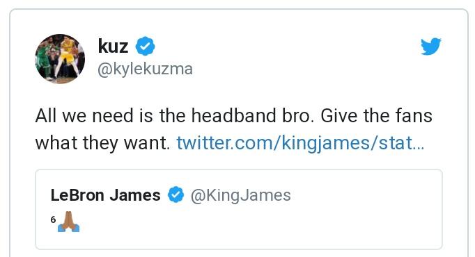 Кайл Кузма – Леброну Джеймсу: «Все хотят, чтобы ты вернул повязку на голову»