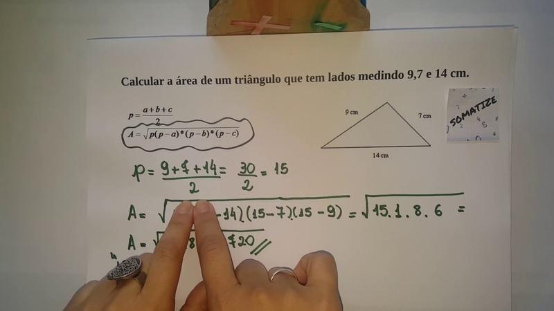 Área de triângulo dados os três lados - Fórmula de Heron - Prof. Edna