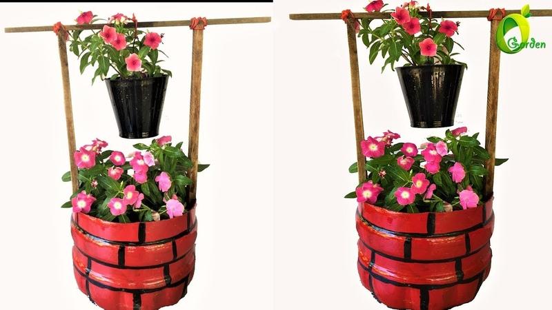 Flower garden ideasplastic bottle planter well model gardenorganic garden