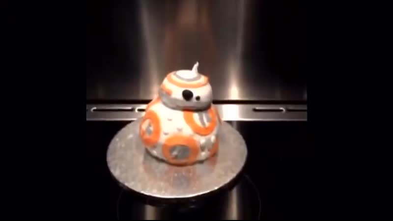 That time when Daisy Ridley and Adam Driver (singing the SW theme in the background 😆) made a BB-8 cake, November 2015