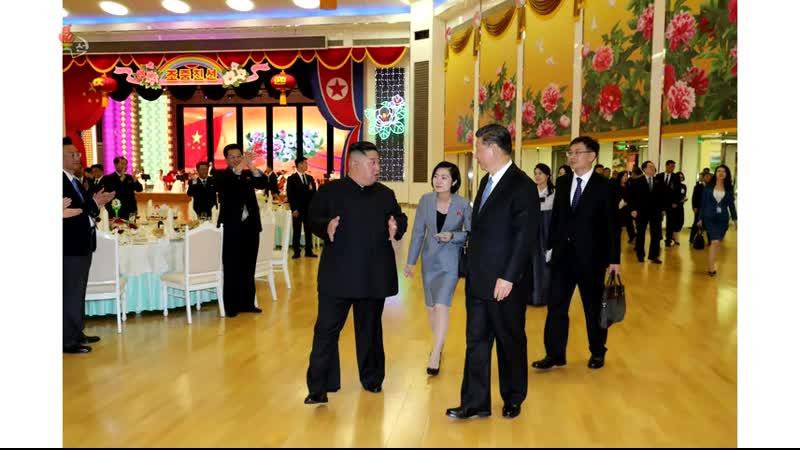 경애하는 최고령도자 김정은동지께서 중국공산당 중앙위원회 총서기 중화인민공화국 주석 습근평동지의 우리 나라 방문을 환영하여 성대한 연회를 마련하시였다