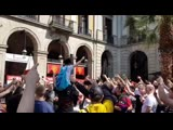 A Korean tourist was walking around Barcelonas city centre, so Manchester United fans raised him and started singing the famous