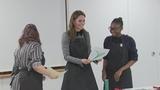 Duchess of Cambridge shows off lino printing skills