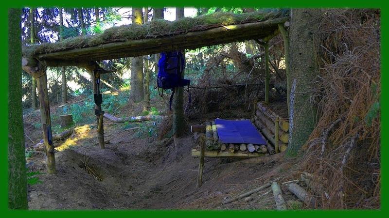 Bushcraft Camp: Roof Hut - Outdoor Survival Shelter Lagerbau