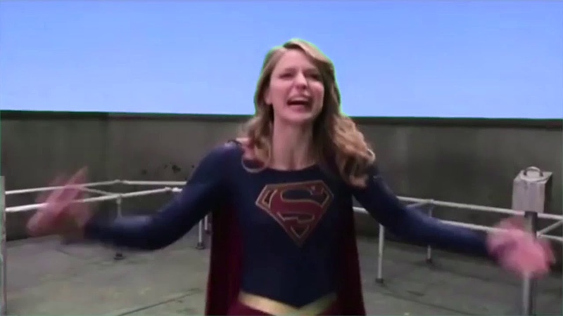 Melissa Benoist as Supergirl as Tommy Wiseau in The Room