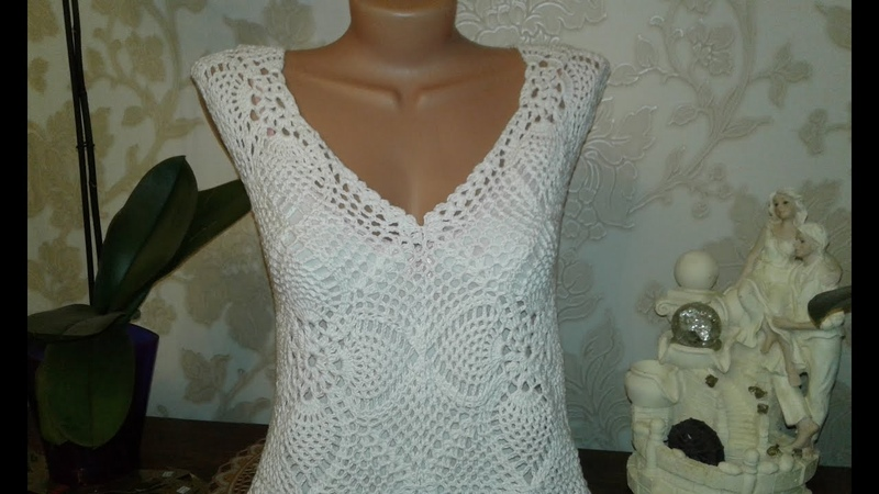 Квадратный мотив крючком. Формирование V-образной горловины Crochet motif