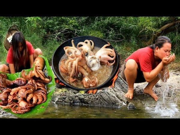 Primitive Technology woman girl take octopus cook eating delicious 37